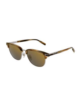 Montblanc Rectangular Frame Metal Güneş Gözlüğü 123981