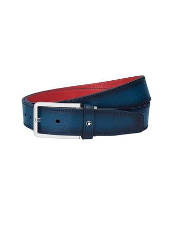 Montblanc Kırmızı Astarlı Kayışlı Dikdörtgen Mat Paladyum Mavisi Kemer 126037