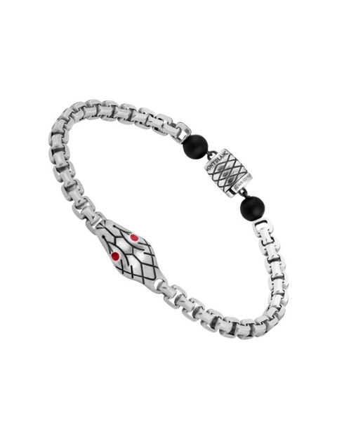 Montblanc Kırmızı ve Siyah Gümüş Yılan Desen Oniks (S) Bileklik 12405360